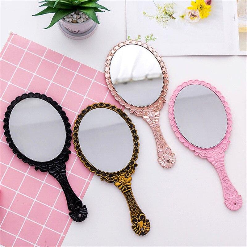 4 kolory kreatywny wzór vintage uchwyt lustro do makijażu owalne okrągłe damskie damskie lusterka kosmetyczne uroda makijaż akcesoria
