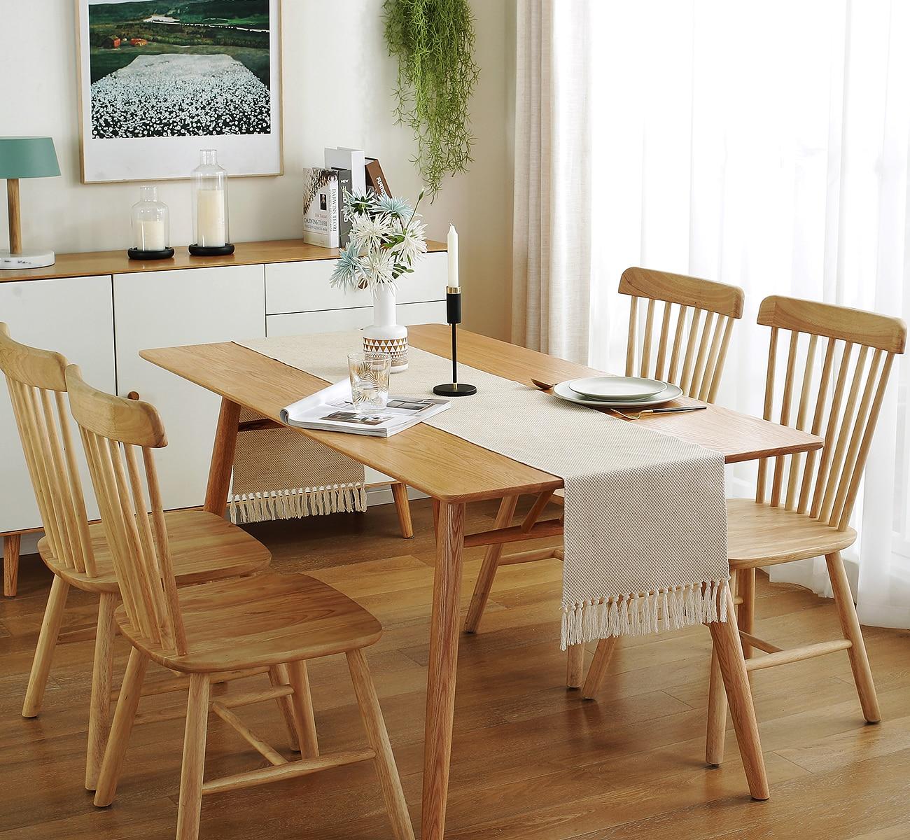 Chassic Farmhouse Woven Burlap Table Runner Linen with Handmade Fringe, Rustic Jute Tassel Village Dining Room Dresser Decor