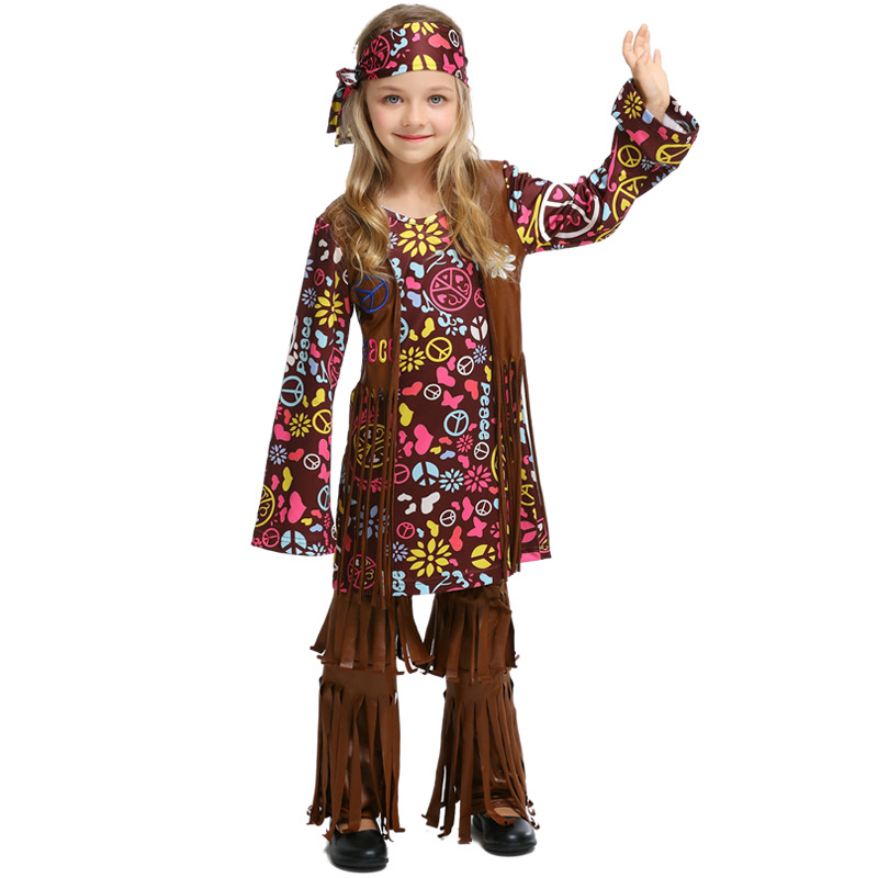 70s Hippy Costume 60s Groovy Baby Hippie Adult Womens Ladies Fancy Dress Outfit