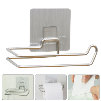 Kitchen Toilet Paper Holder Adhesive Wall Mount Stainless Steel Hanging Organizer Bathroom tissue towel accessories rack holders vintage wall mounted tissue towel hanging rope toilet paper holder kitchen roll paper rack home organizer bathroom decoration