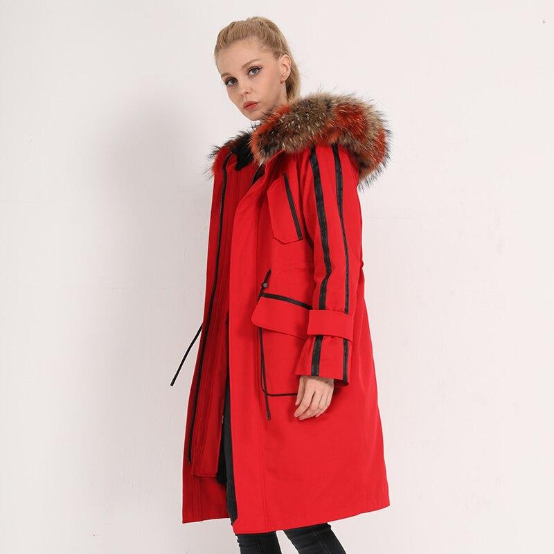 Rabbit Natural Fur Liner Parka Real Fur Coat Winter Jacket Women Raccoon Fur Collar Warm Long Jackets Manteau Femme MY S