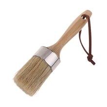 Round Chalk Paint Wax Brush Ergonomic Wood Handle Natural Bristle Brushes Furniture DIY Painting Waxing Tool 449C