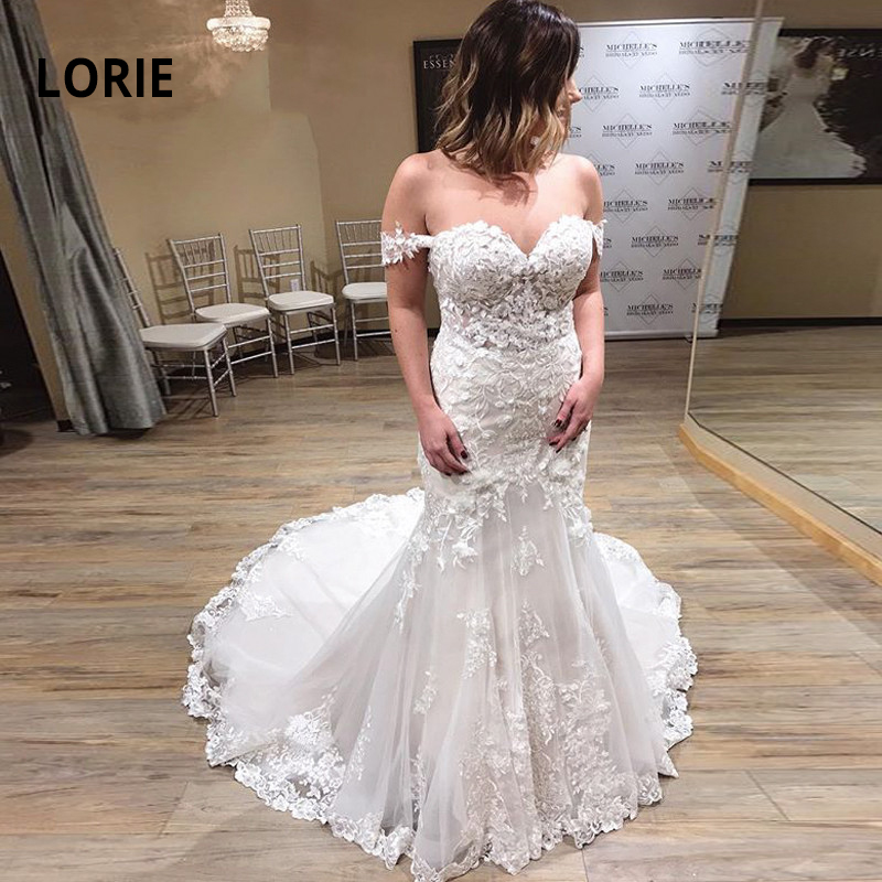 LORIE Off The Shoulder Elegant Lace Appliqued Mermaid Wedding Dresses 2019 Sweetheart Neck Sexy Backless Bridal Gowns Customized