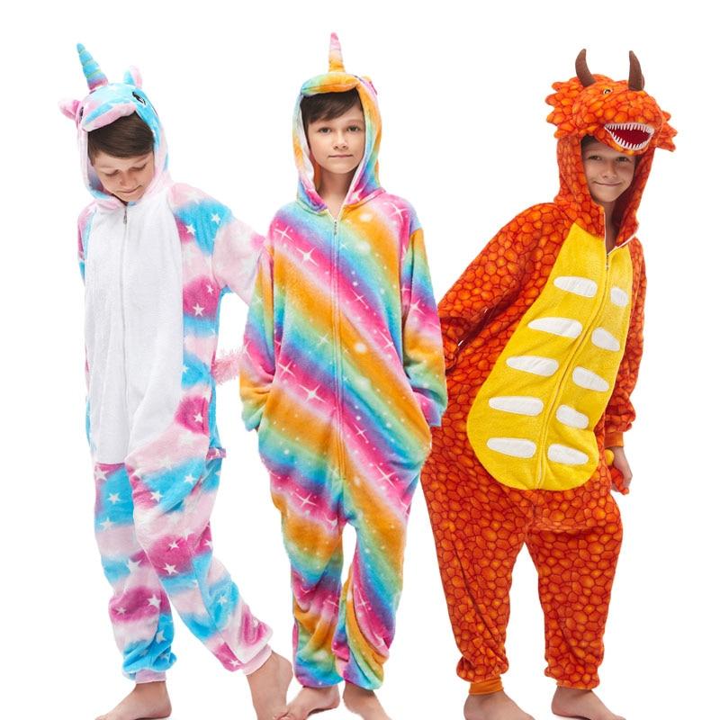 NEW Kids Animal Dinosaur Unicorn Pajamas Cosplay Boys Girls Hooded Christmas Homewear Children Winter Stitch Sleepwear Overalls