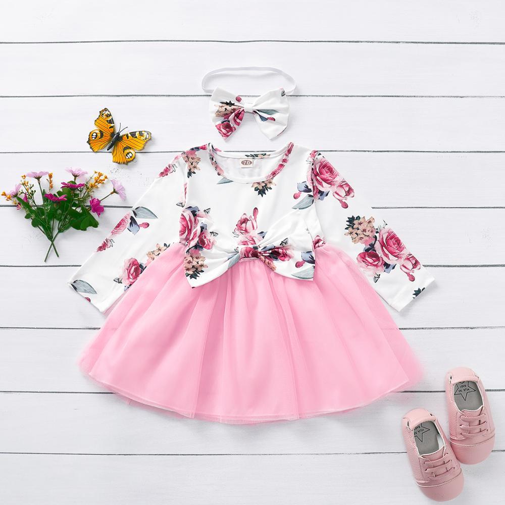 Зимнее платье, бесплатная доставка, одежда для маленьких девочек, Тюлевое платье с длинным рукавом и оборками и цветочным принтом, одежда дл...