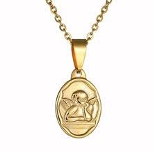 Cupido padrão pingente colar bonito anjo colar popular colar de aço inoxidável para presente de jóias femininas e masculinas