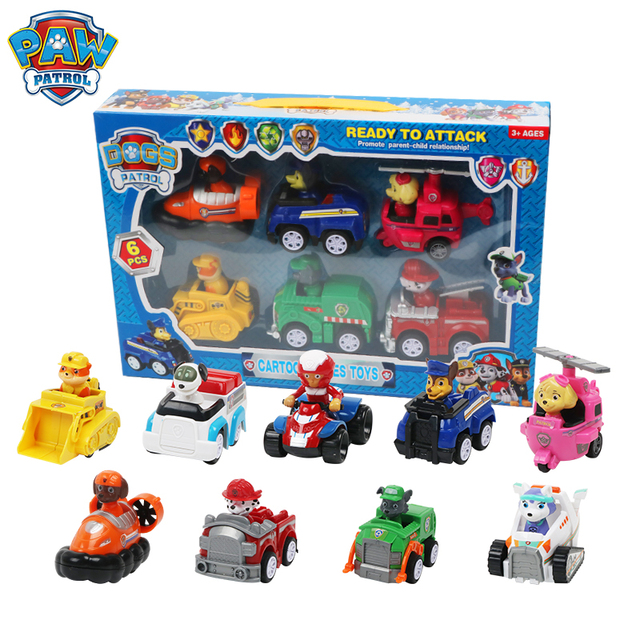 9 Pcs Paw Patrol Toys Set Dog Puppy Patrol Rescue Car Patrulla Canina Action Figures Model Toy Chase Ryder Vehicle Car Kid Toy