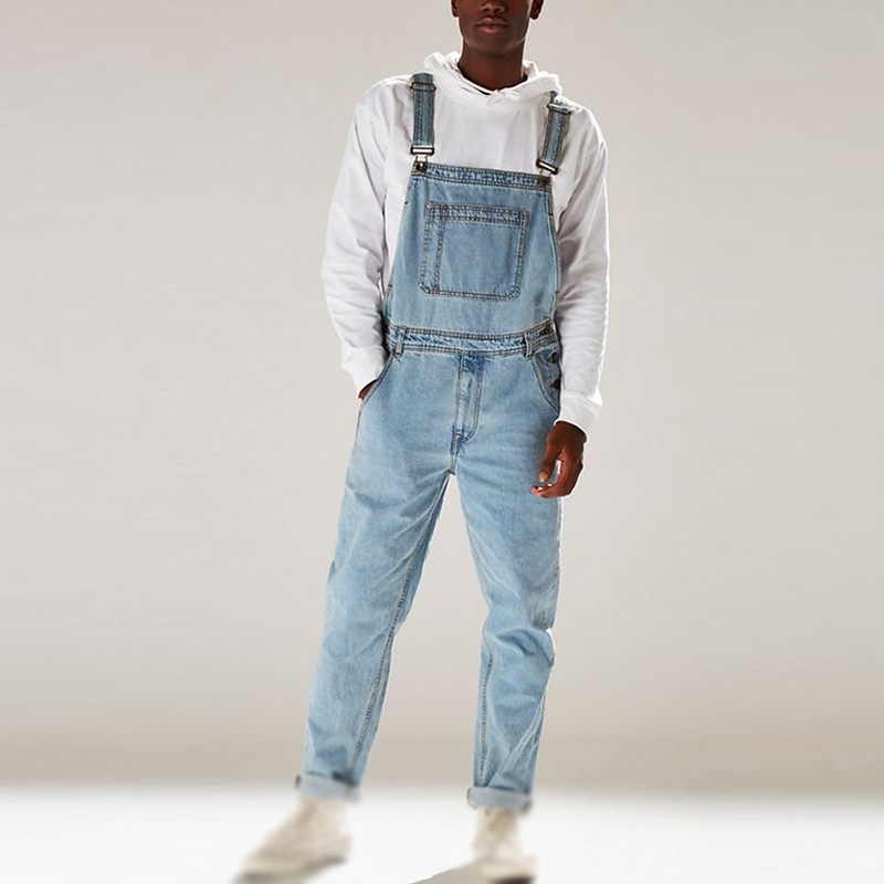 Vintage Retro Long Jumpsuit Men Slim Fit Bib Denim Pockets Fashion Simple Casual Men Jeans