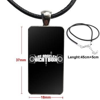 Stainless Steel Color Glass Cabochon With Rectangle Shaped Pendant Choker Necklace For Women Party Cool Hip Hop The Beatbox Logo image
