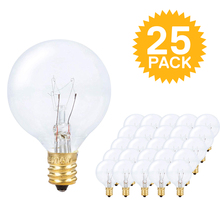 25 X Clear Globe G40 Spare Bulbs, Warm Incandescent E12 Base Replacement Glass Bulb for String Light