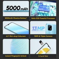 New Global Original realme C21 Smartphone Helio G35 Octa Core 6.5'' inch Screen 5000mAh Massive Battery 3-Card Slot 13MP Camera 2