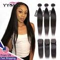 Yyong перуанские прямые волосы 3 / 4 пучка с застежкой 100% Реми пряди человеческие волосы для наращивания с 4*4 кружевными зажимами двойной уток