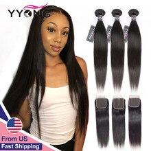 Yyong peruwiańskie proste włosy 4/ 3 wiązki Remy ludzki włos do przedłużania włosów z 4*4 zamknięcie koronki podwójne pasma wyplata wiązki z zamknięciem