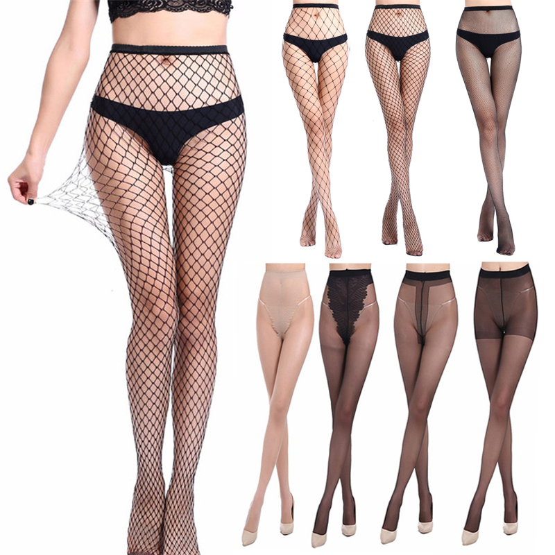 Transparent Silk Breathable Thin Pantyhose Tights Women Fishnet Stockings Small Middle Big Mesh Fish Nets Female Pantyhose