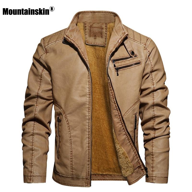 Mountainskin Leather Jacket Men 2020 Winter New Casual Fleece Motorcycle Jackets Male Fashion PU Coat Mens Brand Clothing SA849