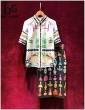 Baogarret Womens Summer Runway Skirt Suit Short Sleeve Blouse + Vintage Perfume Print Skirts Elegant Office Lady 2 Piece Set
