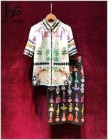Baogarret Women's Summer Runway Skirt Suit Short Sleeve Blouse + Vintage Perfume Print Skirts Elegant Office Lady 2 Piece Set