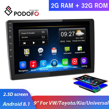 Podofo 2 din Android Car Radio 2 DIN Car Multimedia Player 2.5D GPS 9 Car Autoradio for VW/Toyota/Nissan/Kia/Universal stereo image