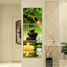 3 Panels Modular Candle Stone SPA Wall Art Posters And Prints Bamboo Canvas Painting For Living Room Corridor Porch Home Decor