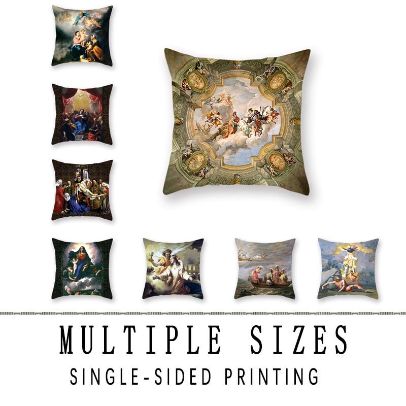 Zenith Oil Painting Pattern Sofa Throw Pillowcase Religious Car Waist Cushion Cover Decorative Accessories