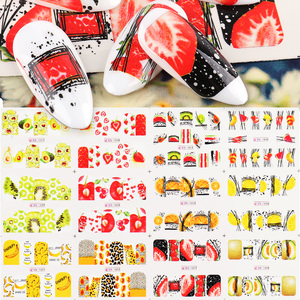 12pcs Nail Decals Stickers Strawberry Lemon Fruits Full Wraps Design Nail Art Water Transfer Sliders Foil Manicure TRBN1597-1608