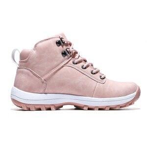 Image 3 - Mùa đông 2020 Ngoài Trời Sang Trọng Ấm Ủng Cho Nữ Da PU Chống Thấm Nước Tuyết Giày Màu Hồng Thời Trang Mắt Cá Chân Giày Người Phụ Nữ Lớn size 42