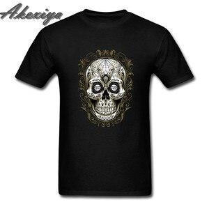 Черная сахарная серия с черепом и бриллиантами, футболка, графическая Татуировка dia los Muertos, женская футболка, Мужская футболка, homme, короткий ...