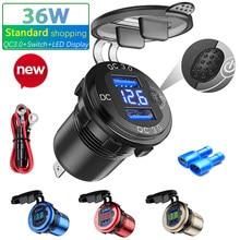 36W Dual USB Charger 12V Socket QC 3.0 LED Display Switch Waterproof Universal Car Socket Plug For Phone Tablet Camera GPS
