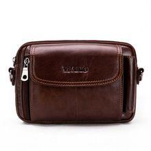 Men Vintage PU Leather Shoulder Bag Crossbody Waist Bag Small Belt Holster Phone Pouch Case F42A 001f men s pu leather inclined crossbody bag