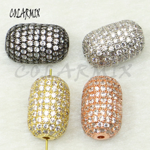 5 pieces long oval pendants micro pave mix colors zircon beads accessories for women crystal charm 50161