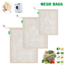 Hot Sale Degradable Organic Cotton Mesh Bag Reused for Shopping Ecological Vegetable and Fruit Bread Bags