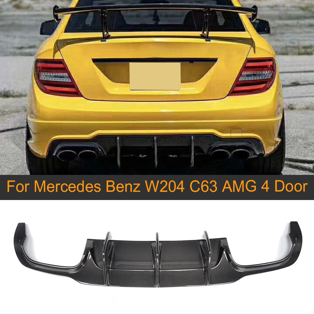Karbon Fiber araba arka tampon difüzör Mercedes Benz için W204 C63 AMG C300 spor 2012-2014 arka tampon altı spoyler