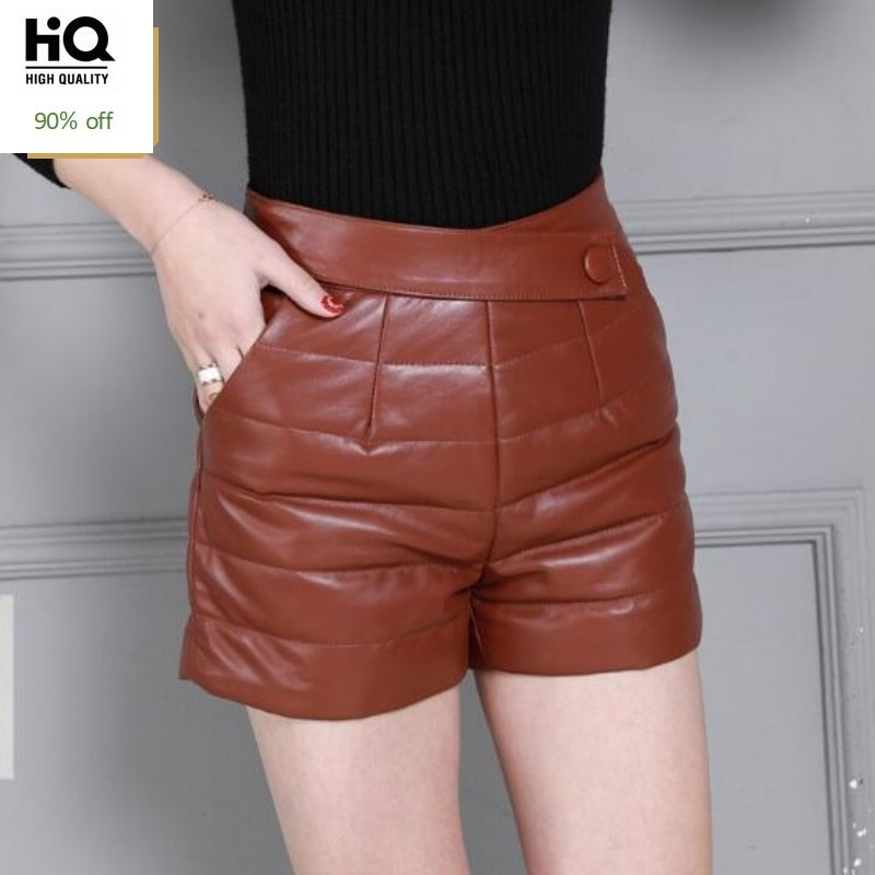Winter Genuine Leather Shorts Women High Waist Plaid Warm Sheepskin Short Pants Streetwear England Style Brand Ladies Shorts
