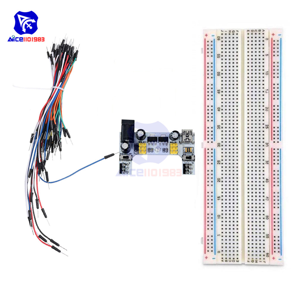 Diymore MB-102 830 Tie Point Solderless Breadboard + 65PCS Jumper Cable + MB-102 Power Supply Module Complete Kit For Arduino
