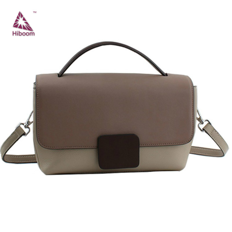 Hiboom 2020  Women's Handbag Cowhide Messenger Bag All-match Ladies Shoulder Bag Elegant Panelled Satchels Bag Genuine Leather