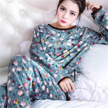 Pijamas mujeres invierno franela Pijamas de lana de Coral conjunto 2019 pijama cálido invierno femenino Pijamas gruesos mujeres tam
