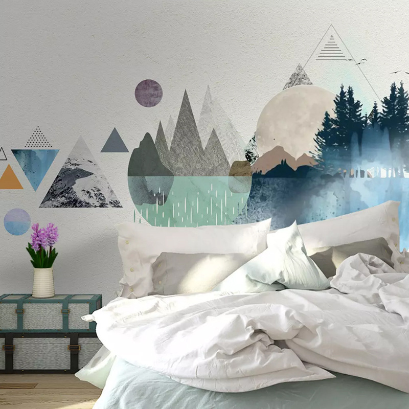 Northern European-Style Customize The Murals Geometry Wallpaper Library Bedroom Wallpaper Seamless Whole Piece Living Room Sofa