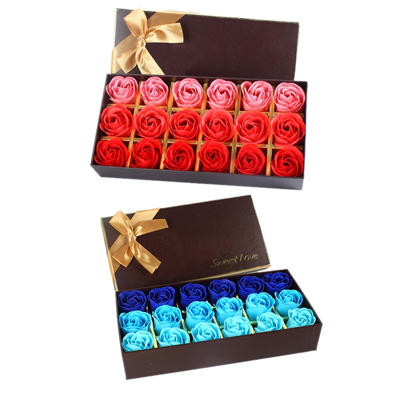 36Pcs Creative Gradient Simulation Rose Soap Flower Red & Blue