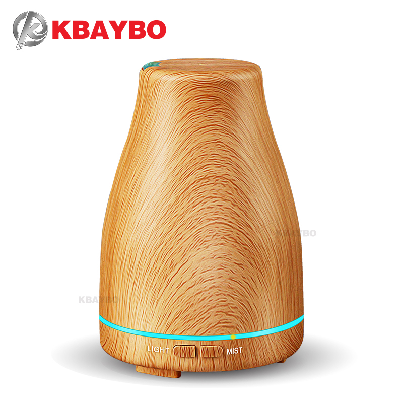 KBAYBO 120ml Aroma Essential Oil Diffuser Ultrasonic Air Humidifier With Wood Grain