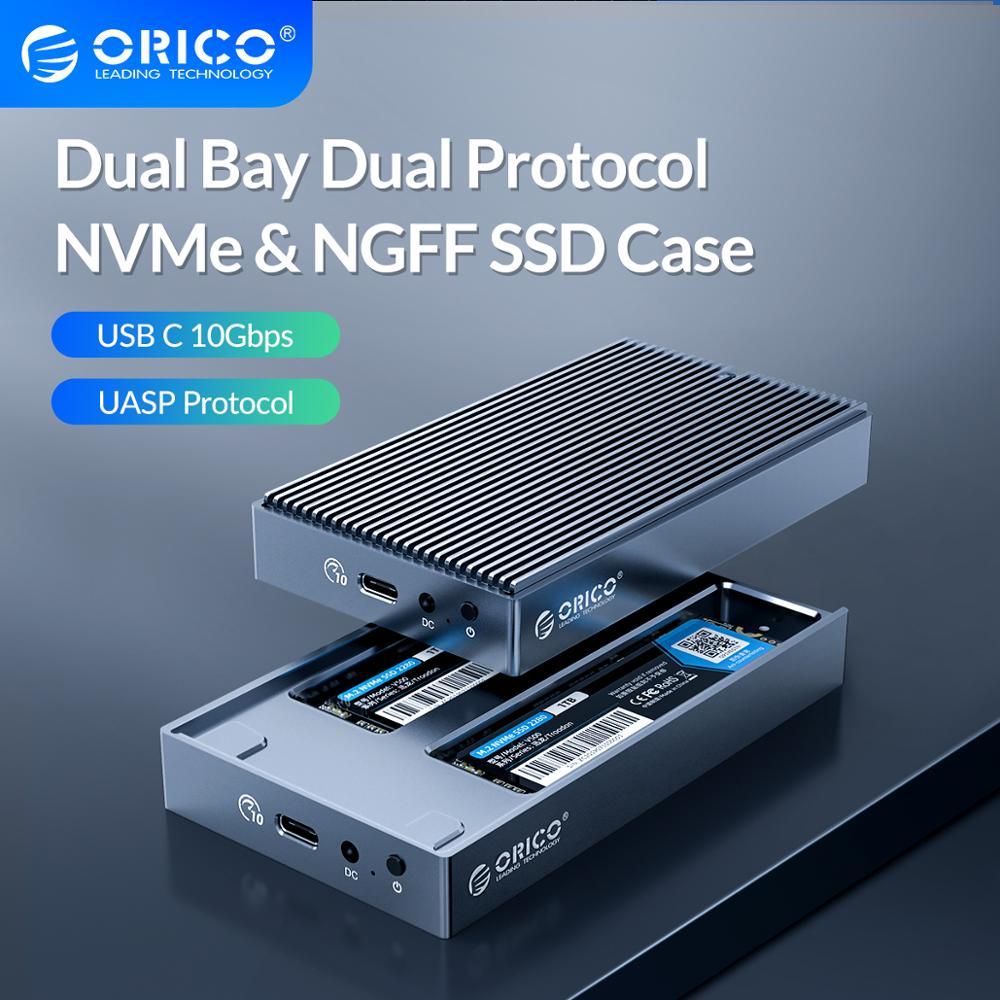 Orico lsdt duplo baía protocolo m2 ssd caso suporte m.2 nvme ngff ssd disco ssd para m key & b + m chave ssd com adaptador de alimentação 5v4a