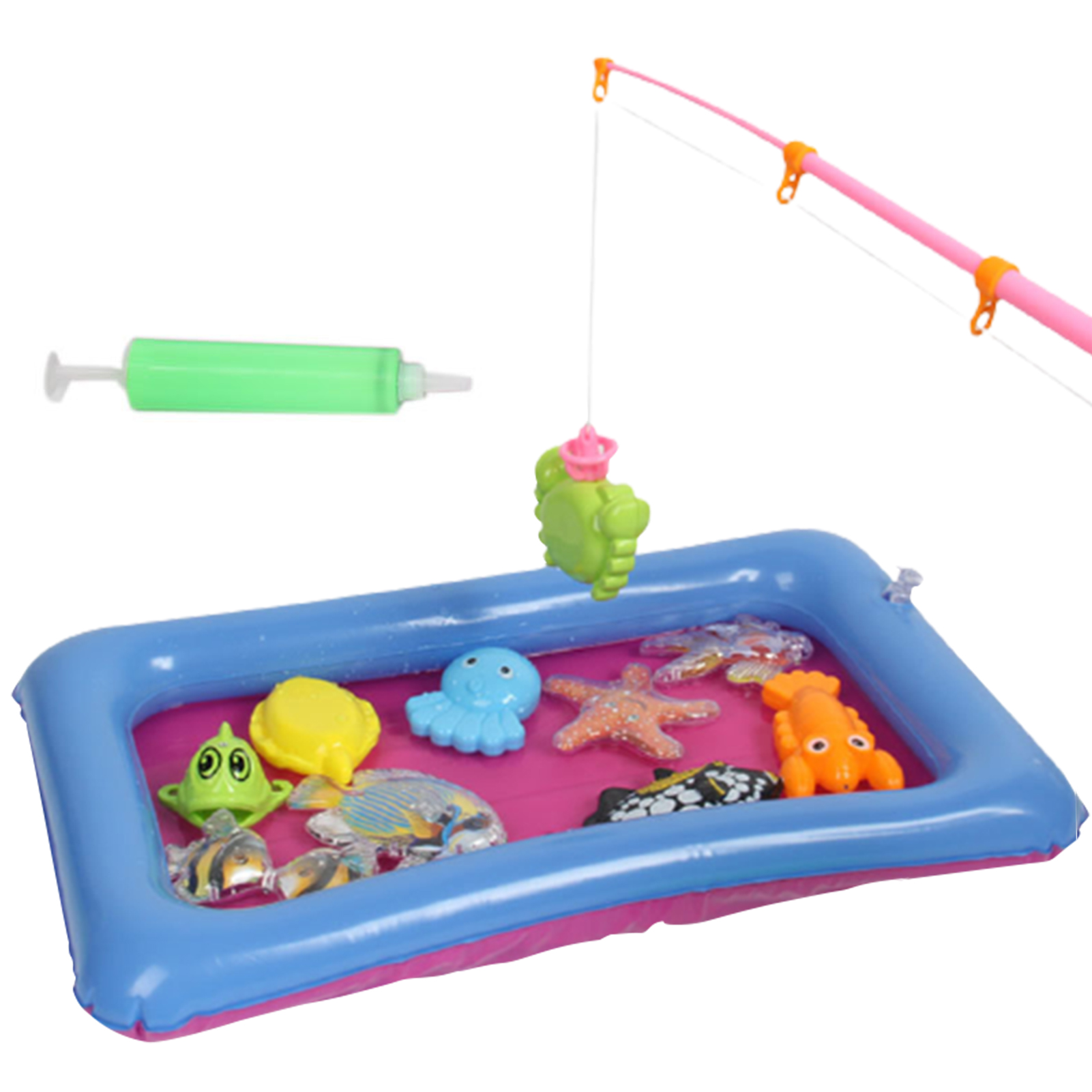 Children Fishing Toys Set With Blow Up Pool Safe Magnetic Toys Suit Magnetic Play Water Baby Toys Fishing Toy Pool Gift For Kids