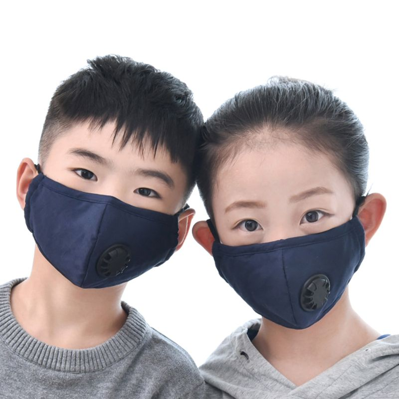 Girls And Boys Winter Cotton PM2.5 Mouth Mask With 2 Filters Exhaust Valve LX9E