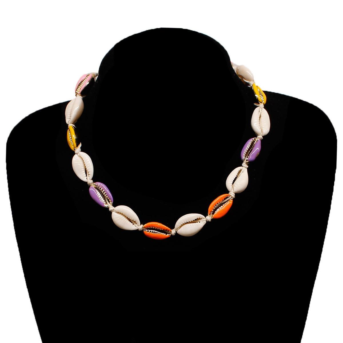 2 Pcs Set Bohemian Summer Beach Shell Necklace Rope Chain Pearl Colorful Metal Shell Choker Necklace Jewelry in Choker Necklaces from Jewelry Accessories