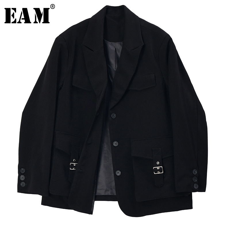 [EAM]  Women Black Pocket Stitch Big Size Blazer New Lapel Long Sleeve Loose Fit  Jacket Fashion Tide Spring Autumn 2020 1S199