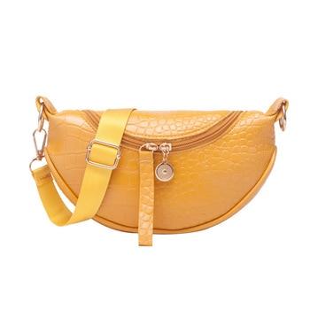 Crocodile Saddle Bag Messenger Bag women's fashion personality semicircle shoulder bag net red popular mobile phone waist bag