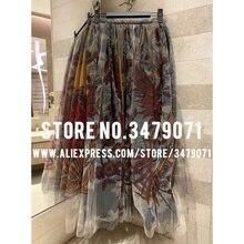Весенняя Летняя женская Тюлевая юбка с принтом Феникса, юбка с высокой талией, Высококачественная трикотажная юбка с шелковой подкладкой