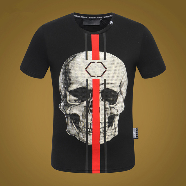 Tide brand Explosion short-sleeved men's round neck T-shirt domineering personality high quality PP hot drilling hoe