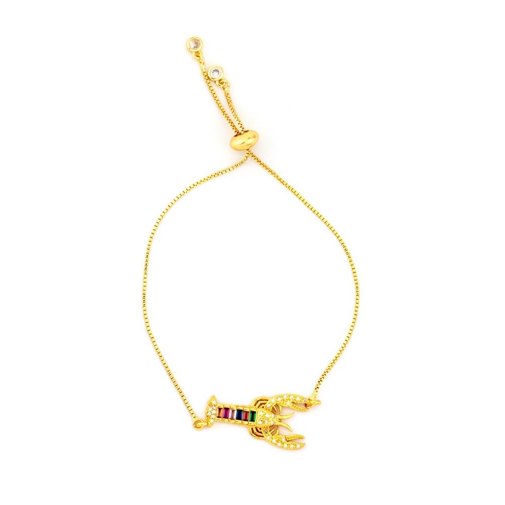 Горячее золото циркония браслет и браслет женский Радужное покрытие браслет Роскошный Регулируемый сердце злой глаз змея цепь браслет - Окраска металла: BRB61-B