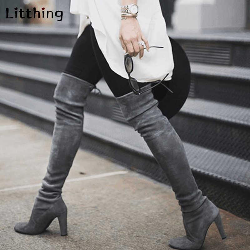 Litthing Vrouwen Dij Hoge Laarzen Mode Suède Hoge Hakken Lace Up Vrouwelijke Over De Knie Laarzen Schoenen 2019 Plus maat 43