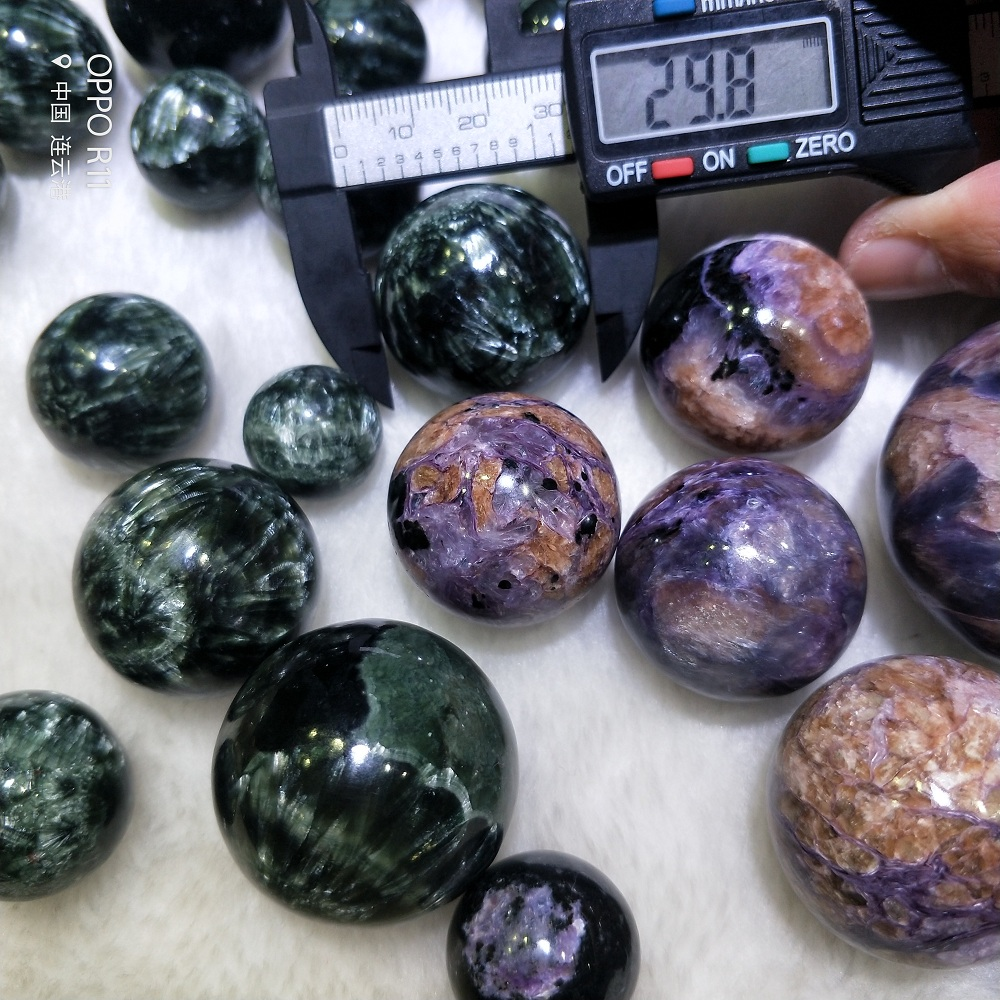 Natural Stone Charoite Seraphinite Crystal Sphere Ball Purple Natural Stones Energy Stone Home Decoration Gift